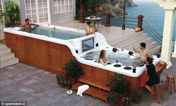 Hot Tub Spread over two Decks
