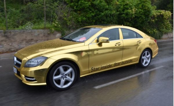 Mercedez Benz Wrapped in Gold