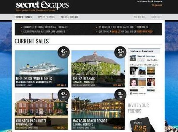 Secret Escapes Sreenshot Luxury Travel Online Site Secret Escapes Receives £8 Million to Boost Its Growth