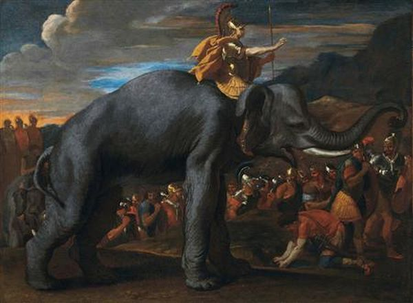 """Hannibal Crossing the Alps on an Elephant"" by Nicolas Poussin is seen in this undated handout picture provided by Christie's in London"