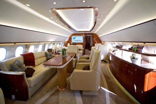 Lounge in the Corporate Jet