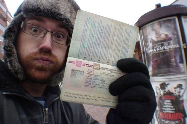 Graham Hughes with his Russian Visa