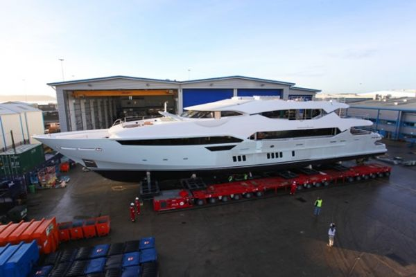 The New Yacht Coming Out of the Yard
