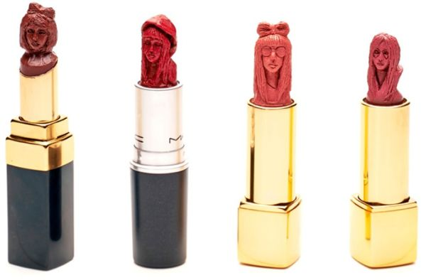Portrait Sculpted on a Lipstick