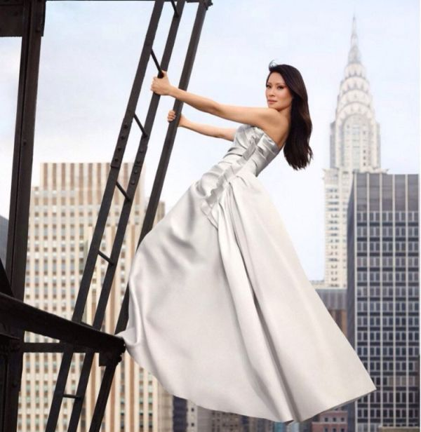 Lucy Liu Posing for the Mandarin Oriental Hotels